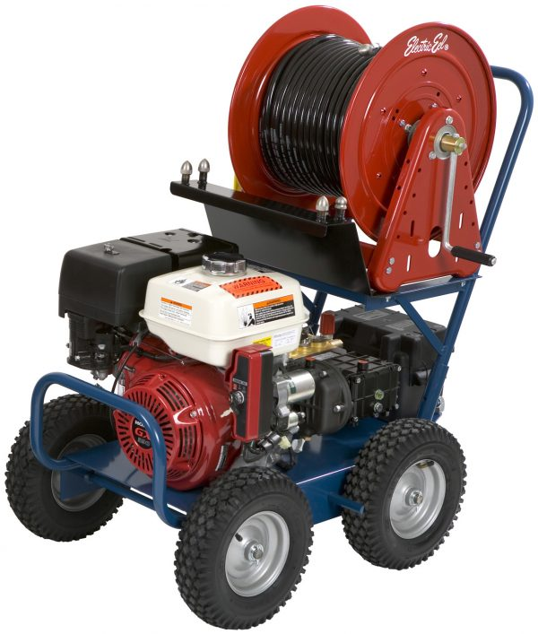 The Model EJ3000 is a portable 4-wheel Gasoline Powered Drain Jetter that runs dependably and quietly with a longer lifespan.